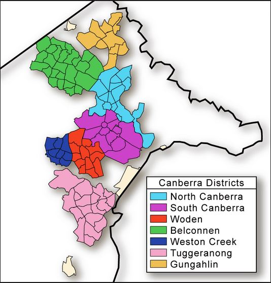 Canberra Districts map